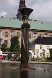 Copenhaga: 22 de agosto 2016 - A característica da água no jardim real da biblioteca, Copenhaga Imagem de Stock
