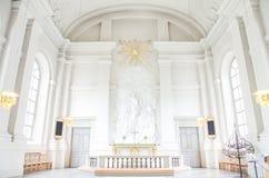 Copenhaga, Dinamarca - 25 de agosto de 2014 - torre de igreja de nosso salvador (dinamarquês: Igreja barroco do Vor Frelsers Kirk imagens de stock