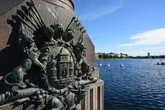 Copenhaga, Dinamarca - 21 de julho de 2016: A brasão de Copenhaga na ponte Foto de Stock