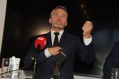 Copenhaga/Dinamarca 15 Em novembro de 2018 Os três ministros ministro dinamarquês de Dinamarca de Anders Samuelsen para Negócios  imagens de stock
