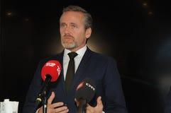 Copenhaga/Dinamarca 15 Em novembro de 2018 Os três ministros ministro dinamarquês de Dinamarca de Anders Samuelsen para Negócios  fotografia de stock royalty free