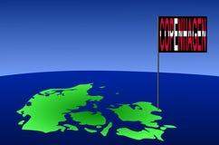 Copenhaga no mapa de Dinamarca Imagem de Stock