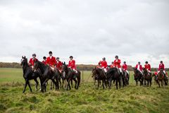 Hubtertus Fox Hunt 2017. Copenhage, Denmark - November 05, 2017: Group of horse riders at the annual Hubrertus fox hunt event Stock Photography