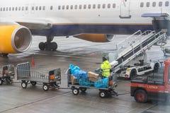 copenhagen Дания 29-ое ноября 2018 Обслуживать воздушных судн Багаж пассажиров стоковое фото rf