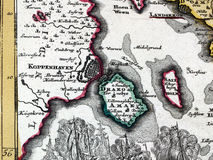 Copenhagen. Fragment of a map from XVIII century Royalty Free Stock Photos