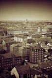 Copenhagen. View of copenhagen capital of Denmark in sepia Royalty Free Stock Photos