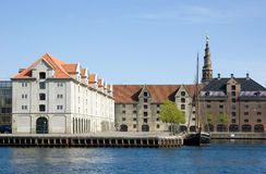 Copenhagen. One of the most popular canal in Copenhagen with famous The Church of Our Saviour on background, Denmark Stock Photo