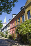 Copenhagen. Tipical street with colorful houses Royalty Free Stock Photos