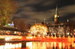 Copenhagen. Night scenery of City Hall in Copenhagen seen from the Tivoli Gardens at Christmas Royalty Free Stock Photos