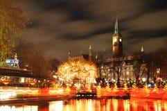 Copenhagen. Night scenery of City Hall in Copenhagen seen from the Tivoli Gardens at Christmas Stock Photography