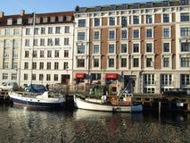 Copenhagen. Houses and boats in Nyhavn in Copenhagen, Denmark Royalty Free Stock Images
