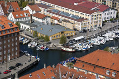 Copenhagen From Above. Copenhagen. Denmark. Christianshavns Canal in Copenhagen. denmark Royalty Free Stock Image