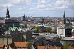 Copenhagen From Above. Copenhagen. Denmark. Copenhagen city from above. Denmark. A view to the Parliament, Christiansborg (the big spire, upper, left side Royalty Free Stock Photos