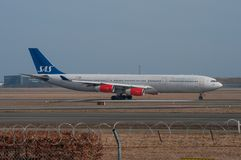 SAS Airbus 340 takes off from Copenhagen airport in Denmark Stock Images