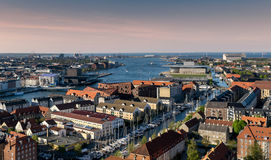 Copenhagen Areal View Inner Harbour and Canals Royalty Free Stock Photography