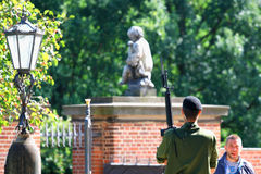 Copenhagen, aug 14. 2016: soldier in Copenhagen and blurred back Stock Image