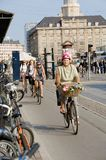 Copenhagen bicycle. Bicycles traffic in the street of Copenhagen Stock Photos