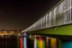 Copenhagen bike lane at night, inner harbor bridge royalty free stock photo