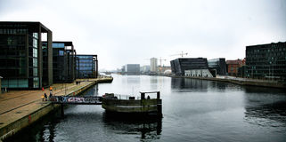 Copenhagen Black Diamond. View of the Harbour and the Architectural Black Diamond in Copenhagen Stock Photo