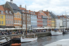 Copenhagen canal boats, Nyhavn Royalty Free Stock Photos