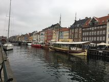 Copenhagen canal and colourful houses royalty free stock images