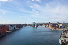 Copenhagen, the capital of Denmark. The picture is taken in the Nordhavn/Osterport area, in the north-eastern part of the city. Wide angle view royalty free stock images