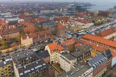 Copenhagen center skyline city view at the autumn. Foggy day royalty free stock photography