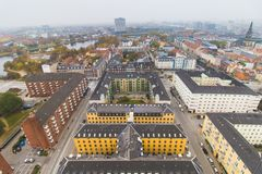 Copenhagen center skyline city view at the autumn. Foggy day royalty free stock photo