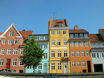 Copenhagen, Christianshavn. Typical houses of Copenhagen with colorful walls. July 2005 Royalty Free Stock Photo