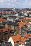 Copenhagen city from above. Copenhagen. Denmark. Photo is taken from the spire of Our Saviours Church and pointing across the old city. The building with the royalty free stock photo