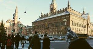 Copenhagen City Hall  crossroad stock video footage