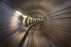 Copenhagen city metro tunnel. Blurred motion of metro tunnel in Copenhagen stock photography