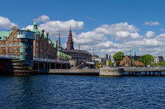 Copenhagen cityscape of canal and houses on embankment  Royalty Free Stock Photos