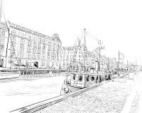 copenhagen Dani europejczycy Ręka rysująca wektorowa ilustracja ilustracja wektor