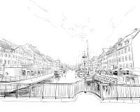 copenhagen Dani europejczycy Ręka rysująca wektorowa ilustracja ilustracji