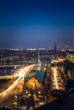 Copenhagen Danish parliament old building. Cityscape of copenhagen in the bluehour with the old building of parliament stock photo