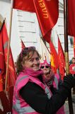 DANISH LABOUR UNIONS SUPPORT RALY AT CONCILIATION OFFICE. Copenhagen/Denmark 27 April 2018_ .All danish labour unions members rally in support for their unions Royalty Free Stock Image