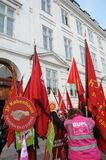 DANISH LABOUR UNIONS SUPPORT RALY AT CONCILIATION OFFICE. Copenhagen/Denmark 27 April 2018_ .All danish labour unions members rally in support for their unions Royalty Free Stock Photography