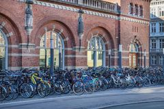 Copenhagen, Denmark - April 30, 2017: Bicycle parking lot with b. Icycles at the central railway station on a spring sunny morning Stock Photo