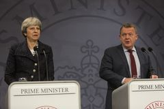 Theresa May Visits Danish Prime Minister in Copepenhagen. Copenhagen, Denmark - April 09, 2018: British Prime Minister Theresa May visits Danish Prime Minister Stock Photos