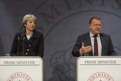 Theresa May Visits Danish Prime Minister in Copepenhagen. Copenhagen, Denmark - April 09, 2018: British Prime Minister Theresa May visits Danish Prime Minister Royalty Free Stock Photo