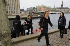COUNCIL OF EUROPE DELEGATES ARERIVE AT CONFERE. Copenhagen/Denmark 12 April 2018_ . Council of Europe delegates arrived by boat at conference of ministers 12-3 Stock Photo