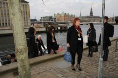 COUNCIL OF EUROPE DELEGATES ARERIVE AT CONFERE. Copenhagen/Denmark 12 April 2018_ . Council of Europe delegates arrived by boat at conference of ministers 12-3 Stock Photography