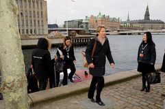 COUNCIL OF EUROPE DELEGATES ARERIVE AT CONFERE. Copenhagen/Denmark 12 April 2018_ . Council of Europe delegates arrived by boat at conference of ministers 12-3 Stock Images