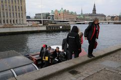 COUNCIL OF EUROPE DELEGATES ARERIVE AT CONFERE. Copenhagen/Denmark 12 April 2018_ . Council of Europe delegates arrived by boat at conference of ministers 12-3 Royalty Free Stock Photo