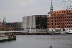 DENMARK`S NATIONAL BANK. Copenhagen/Denmark 12 April 2018_ Denmark`s national bank will celebrate 200 years , grey building is national bank of Denmark. . Photo royalty free stock image