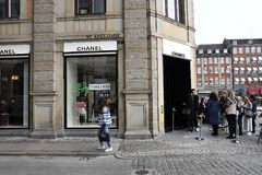 OFFICIL OPENING OF CHANEL BOUTIUE IN COPENHAGEN. Copenhagen/Denmark 18 April 2018_French chain Chanel opens its first shop ever in Copenhagen first consumer wih stock image