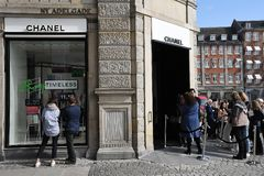 OFFICIL OPENING OF CHANEL BOUTIUE IN COPENHAGEN. Copenhagen/Denmark 18 April 2018_French chain Chanel opens its first shop ever in Copenhagen first consumer wih stock photo