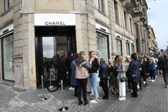 OFFICIL OPENING OF CHANEL BOUTIUE IN COPENHAGEN. Copenhagen/Denmark 18 April 2018_French chain Chanel opens its first shop ever in Copenhagen first consumer wih royalty free stock image