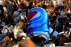 PEPSI  CAN LITER IN NATURE. Copenhagen/Denmark 02 April 2018_ Pepsi empty can as liter in nature.        Photo.Francis Joseph Dean / Deanpictures Royalty Free Stock Images